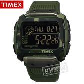 TIMEX 天美時 / TXTW5M20400 / 迷彩 遠征系列 極限運動 INDIGLO專利夜光 電子顯示 橡膠手錶 黑x軍綠 54mm