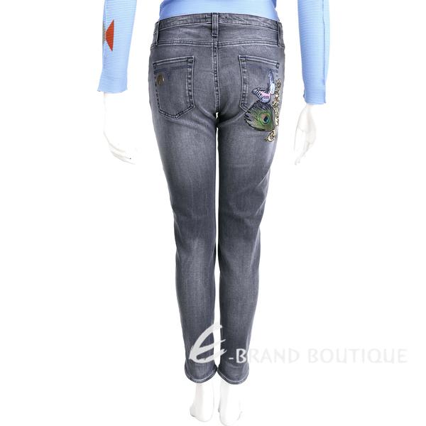 VERSACE 灰色刷白動物圖騰刺繡棉質牛仔褲 1620339-59
