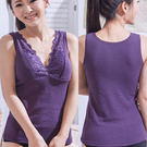 一王美 台灣製舒適網布蕾絲女長版背心2件