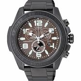 CITIZEN Eco-Drive 型男大錶徑三眼計時IP黑腕錶(AT2275-56X)