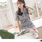 《DA6431-》格紋綁帶襯衫領縮腰洋裝 OB嚴選