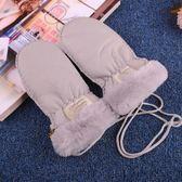 羊皮毛一體手套寶寶冬季保暖真皮手套兒童連指悶子幼兒園戶外滑雪 美芭