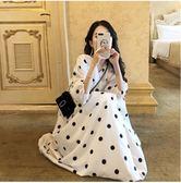 連身裙 夏裝2019新款裙子大碼女裝遮肚胖mm長裙顯瘦洋氣波點v領連身裙潮 生活主義