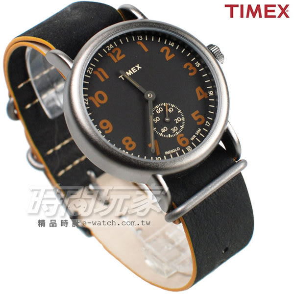 TIMEX 天美時 小秒盤文青造型 數字腕錶 雙色皮帶 黑色 男錶 TXT2P86700