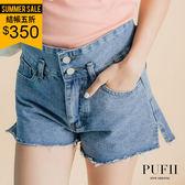 PUFII-牛仔短褲 雙釦不修邊側開衩丹寧牛仔短褲-0524 現+預 夏【CP14694】