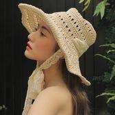現貨-夏季遮陽草帽女蕾絲綁帶太陽帽防風沙灘帽折疊旅行拍照鏤空手工帽