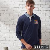 【JEEP】經典探險家撞色領長袖POLO衫 (深藍)