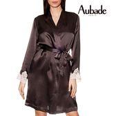 Aubade-VI蠶絲L/XL及膝外袍(咖啡粉蕾絲)