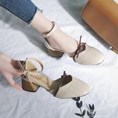 涼鞋女2018夏季新款韓版百搭方頭粗跟中跟鞋包頭一字扣蝴蝶結女鞋『小淇嚴選』
