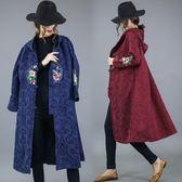 冬裝女棉麻提花繡花民族風大尺碼加絨加厚保暖連帽風衣中式外套洋裝 快速出貨