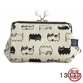 【日本製】貓帆布系列 寬底萬用零錢包 貓咪三兄弟圖案 灰色 SD-7072 - 日本製 貓帆布系列