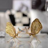 印度復古仿真金色鍍銅蝴蝶擺件樣板間裝飾創意軟裝家擺飾擺設「爆米花」