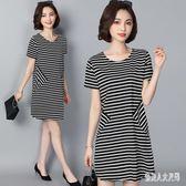 大尺碼條紋洋裝夏季寬鬆透氣T恤裙中長款短袖連身裙WL1892【俏美人大尺碼】