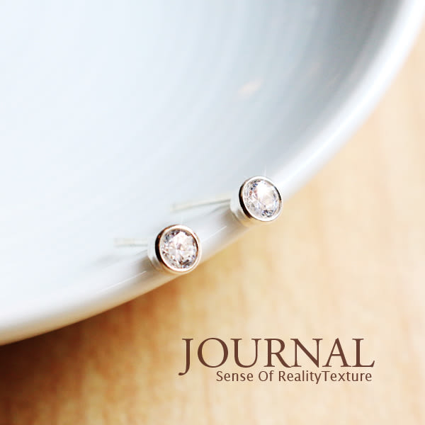 925純銀 3mm圓形包框點鑚針式耳環_質物日誌Journal