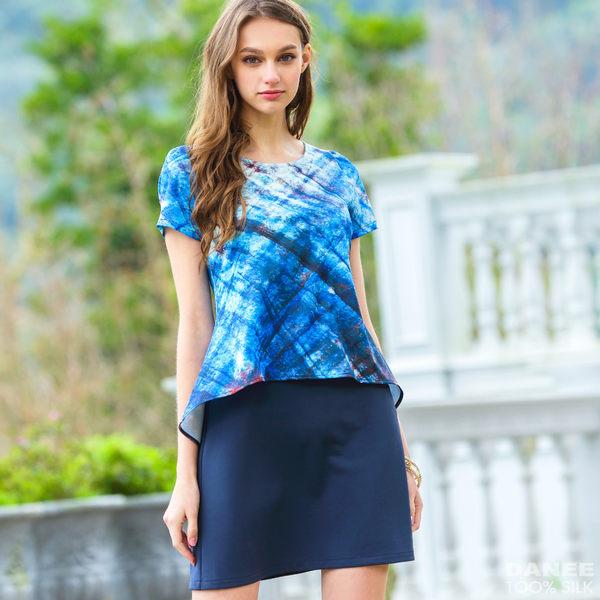 【岱妮蠶絲】未來流行假兩件蠶絲短袖洋裝