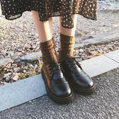 復古小皮鞋女英倫學院學生雕花繫帶低筒馬丁鞋單鞋平底百搭正韓鞋娃娃鞋
