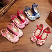 降價兩天 2020年新款春夏老北京女童布鞋兒童繡花鞋民族風牛筋底表演舞蹈鞋