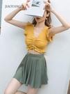 泳衣 泳衣女保守分體裙式韓版顯瘦泡溫泉大碼平角沙灘游泳衣2021年新款 快速出貨