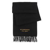 【BURBERRY】黃色Logo素面羊毛圍巾(黑色) 40790031
