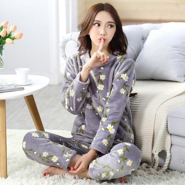 睡衣女珊瑚絨加厚長袖法蘭絨秋套頭可愛韓版家居服套裝 優家小鋪