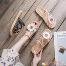 沙灘鞋 2021夏季新款半拖網紅風時尚潮沙灘外穿涼拖鞋女外出花朵仙女 愛丫 新品