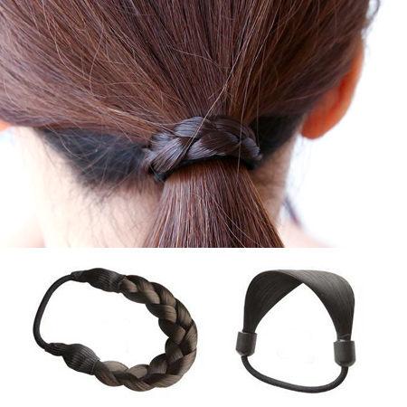 韓版 簡約假髮編織髮束 髮圈 髮繩 髮飾 頭飾 橡皮筋