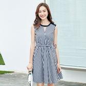 中大尺碼~格紋印花時尚圓領短袖洋裝(XL~5XL)