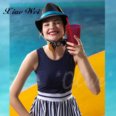 ☆小薇的店☆台灣製沙麗品牌新款【藍白經典條紋】時尚流行連身裙泳裝特價1100元NO.19124(M-XL)