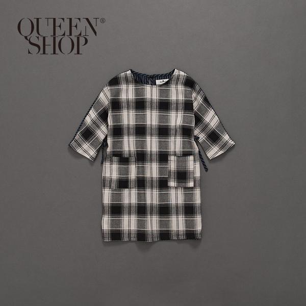Queen Shop【01084375】童裝 親子系列格紋腰綁帶棉麻洋裝 S/M/L*現+預*