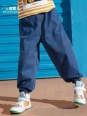兒童牛仔褲男童裝牛仔褲兒童寬鬆長褲子春秋裝新款中大童洋氣哈倫褲韓版 聖誕節