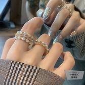 珍珠水鉆開口食指戒指韓版指環女【小檸檬3C】