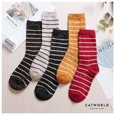 Catworld 復古風橫線彩點羊毛堆堆長襪【18900486】‧F
