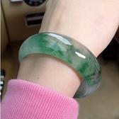 特價天然A貨玉鐲飄花玉手鐲女款冰種淺綠翡翠色玉石玉器玉鐲子女