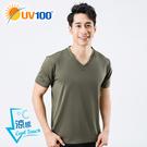 UV100 防曬 抗UV-涼感彈性V領上衣-男