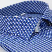 【金‧安德森】藍格白線門襟斜格窄版長袖襯衫