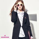 【SHOWCASE】無領開襟長版針織外套(黑)