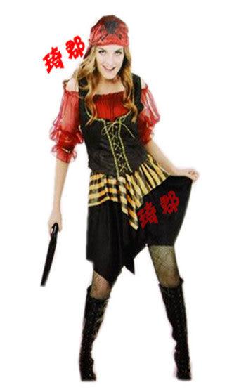 COS萬聖節服裝 加勒比大紅女海盜