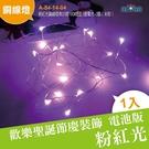 電池版 迷你聖誕燈 粉紅光銅線燈串25燈10CM燈距3號電池×3顆(未附)(A-54-14-04)