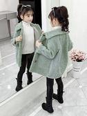 女童冬裝2019韓版中大兒童羊羔毛外套女孩長款毛毛衣洋氣大衣