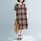 洋裝 - K6852 藍橘格子棉麻寬鬆洋裝【加大F】