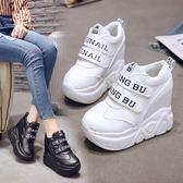34碼女鞋子春季小白鞋女內增高休閒鞋超高跟坡跟正韓 巴黎時尚