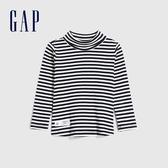 Gap女幼童 休閒條紋設計高領針織長袖 614946-海軍藍條紋
