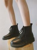 馬丁靴秋季新款馬丁靴女透氣學生黑色短靴女英倫風機車靴百搭復古潮