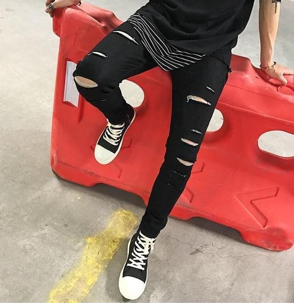 FINDSENSE MD 時尚 男 潮 街頭 修身 暗黑 割破 牛仔褲 九分褲