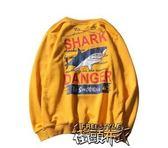 秋裝嘻哈套頭男生衛衣學生情侶鯊魚衛衣男 街頭布衣