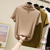 半高領短袖打底衫女t恤百搭氣質修身薄款棉針織內搭上衣【桃可可服飾】
