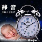 夜光床頭靜音學生鬧鐘創意多功能簡約數字時鐘臥室兒童小鬧鐘鬧表  西城故事