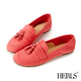 樂福鞋-HERLS 英倫麂皮流蘇2way樂福鞋-珊瑚紅