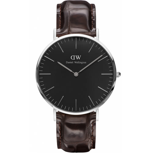 DW Daniel Wellington Classic DW00100134 40mm 壓紋咖啡色 手錶 銀框 現貨!