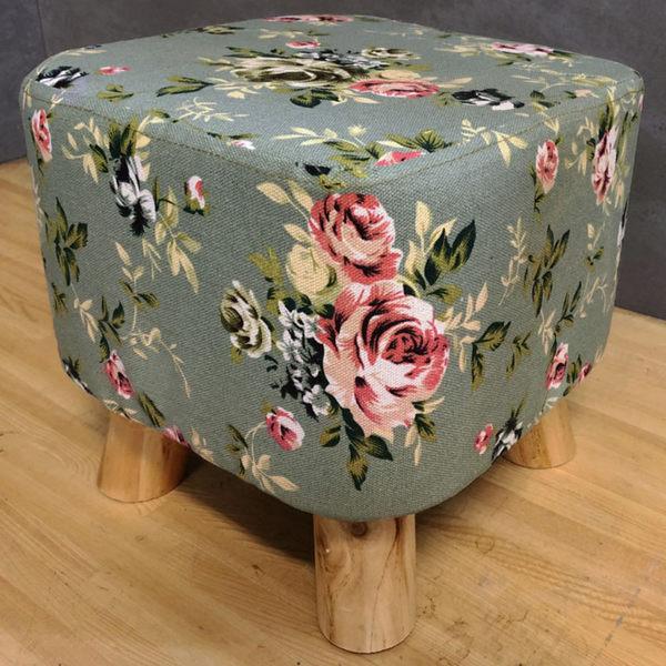 凳子 穿鞋椅 沙發【CHO-001】可愛亞麻方凳實木椅凳穿 茶几 STYLE格調